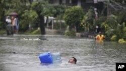 7일 폭우로 잠겨버린 필리핀 마닐라 시내.