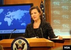 美国国务院发言人卢岚在国务院例行记者会上(资料照片)(美国之音张蓉湘拍摄)