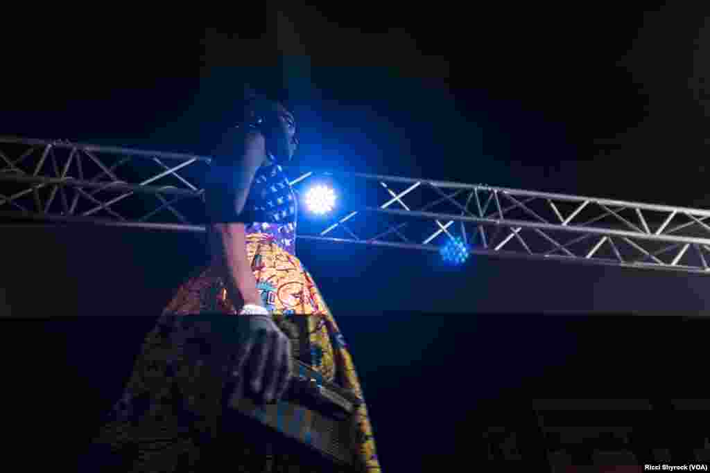 "A model walks the catwalk at Dakar Fashion Week's ""Street Show,"" which is open to the public, June 29, 2017."