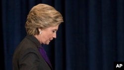 Democratic presidential candidate Hillary Clinton walks off the stage after conceding to Donald Trump in New York, Nov. 9, 2016. While Clinton lost the all-important Electoral College, she is expected to win the popular vote.
