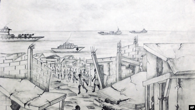 A black-and-white pencil drawing by Haitian earthquake victim Hugues Larose aboard the US Navy hospital ship Comfort