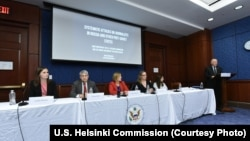 Jordan Warlick (U.S. Helsinki Commission) and Panelists Thomas Kent, Amanda Bennett, Nina Ognianova, and Karina Orlova with Representative Steve Chabot, October 4, 2017.
