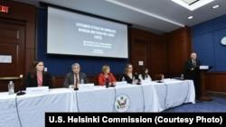 Jordan Warlick (U.S. Helsinki Commission) and Panelists Thomas Kent, Amanda Bennett, Nina Ognianova, and Karina Orlova with Representative Steve Chabot, October 4, 2017.