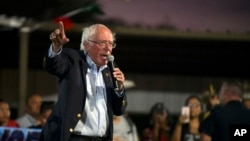 Democratic presidential candidate U.S. Sen. Bernie Sanders addresses the annual Comanche Nation Fair Powwow, Sunday, Sept. 22, 2019, in Lawton, Okla. (AP Photo/Gerardo Bello)