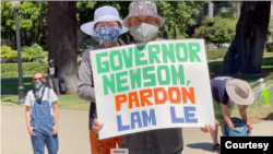 A rally to seek a pardon for Lam Hong Le is organized by Tsuru for Solidarity, outside California's State Capitol in Sacramento, June 4, 2021. (Emiko Omori)
