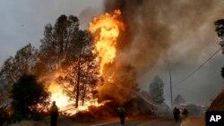 미국 캘리포니아 주 로워레이크 지역에서 지난달 31일 소방관들이 산불을 진압하고 있다.