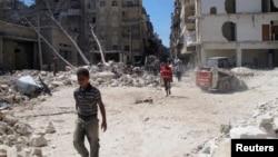 Razrušene zgrade u Alepu