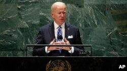 拜登总统2021年9月21日在联大发表讲话。