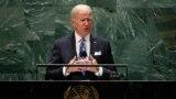 President Joe Biden addresses the 76th Session of the U.N. General Assembly, Tuesday, Sept. 21, 2021, at United Nations headquarters in New York. (Eduardo Munoz/Pool Photo via AP)