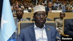 Somalia's President Sheik Sharif Ahmed attends a meeting at the African Union in Addis Ababa, July 15, 2012.