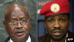 Rais mteule wa Uganda Yoweri Museveni (L) na Robert Kyagulanyi aliyekuwa mgombea urais wa NUP, Januari 14, 2021
