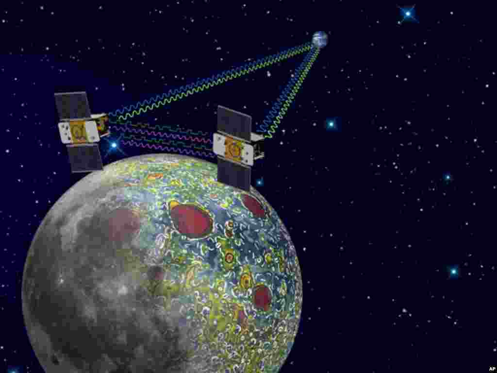 Using a precision formation-flying technique, the twin GRAIL spacecraft will map the moon's gravity field, as depicted in this artist's rendering. (NASA)