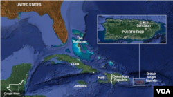 Puerto Rico, a large island in the Caribbean Sea is a U.S. territory.