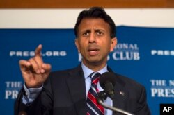 Republican presidential candidate, Louisiana Gov. Bobby Jindal speaks at the National Press Club in Washington, Sept. 10, 2015.