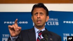 FILE - Republican Bobby Jindal speaks at the National Press Club in Washington, Sept. 10, 2015.