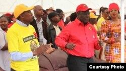 Prime Minister and MDC-T leader Morgan Tsvangirai and Mavambo Kusile Dawn party leader Simba Makoni preparing to address people at Sakubva Stadium, Mutare, Manicaland Province.