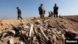 Đống xương bị nghi là của người Yazidi tại ngôi mộ tập thể ở ngoại ô thị trấn Sinjar, Iraq.