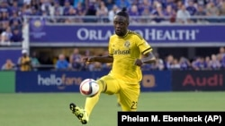 Columbus Crew forward Kei Kamara (23) controls the ball during the first half of an MLS soccer match against Orlando City in Orlando, Fla., Saturday, Aug. 1, 2015.