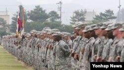 한국 경기도 동두천시 미2사단의 주한 미군 장병들. (자료사진)