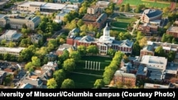 University of Missouri-Columbia campus, showing Jesse Hall and the Mel Carnahan Quadrangle behind it, and Stankowski Field.