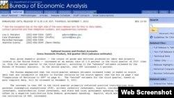 美国商务部经济分析局2013年11月7日在其网站上公布的有关美国经济增长率的最新报告。