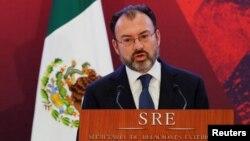 루이스 비데가라이 멕시코 신임 외무장관이 9일 멕시코시티에서 외교인력을 대상으로 연설하고 있다.