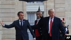 Fransa prezidenti Emmanuel Makron və ABŞ prezidenti Donald Tramp