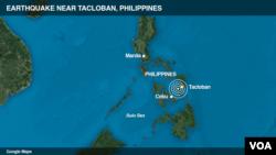 Peta pusat gempa di Filipina.
