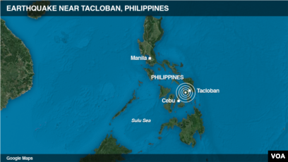 Tacloban Philippines Map.Philippine Quake Knocks Down Building Kills 2 Injures 100