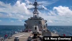 USS Mustin ပဲ့ထိန္းတပ္ ဒုံးဖ်က္သေဘၤာ။ (ၾသဂုတ္ ၁၈၊ ၂၀၂၀)