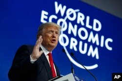 FILE - President Donald Trump delivers a speech to the World Economic Forum, Jan. 26, 2018, in Davos, Switzerland.