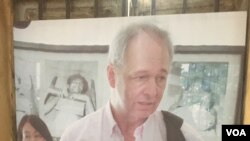A photograph of Gunnar Bergstrom in an exhibition room at Toul Sleng Genocide Museum, September 20, 2016. (Nem Sopheakpanha/VOA Khmer)