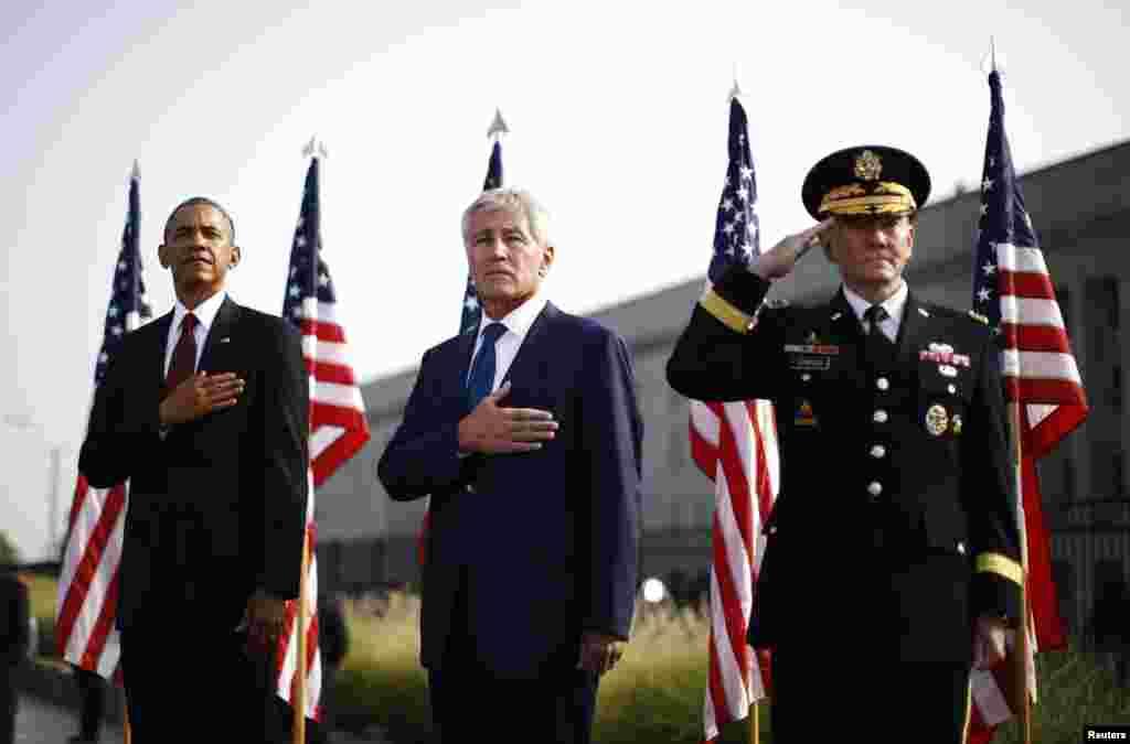 صدر اوباما محکمہ دفاع کے صدر دفتر 'پینٹا گون' میں ہونے والی ایک تقریب میں شریک ہوئے