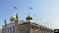 The decorations at the Corn Palace in Mitchell, South Dakota, are fashioned from ears of corn.