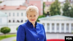 Lithuanian President Dalia Grybauskaite at the presidential palace in Vilnius, July 4, 2014. (Vera Undritz/VOA)
