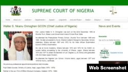 A portion of Chief Justice WalterOnnoghen's biographical page on the Nigerian Supreme Court's website.