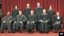The justices of the U.S. Supreme Court gather for a group portrait at the Supreme Court in Washington, October 2010. (file photo)