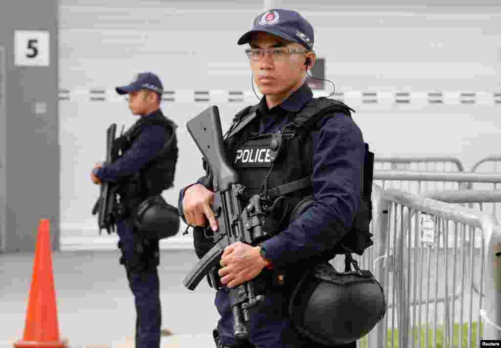 نیروهای امنیتی سنگاپور در آستانه دیدار پرزیدنت ترامپ و کیم جونگ اون