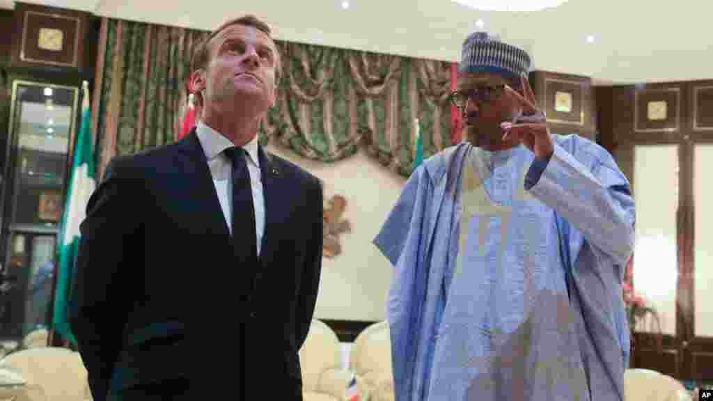 Shugaba Muhammadu Buhari da shugaba Emmanuel Macron na kasar Faransa