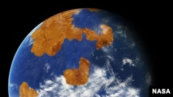 Observations suggest Venus may have had water oceans in its distant past. A land-ocean pattern like that above was used in a climate model to show how storm clouds could have shielded ancient
