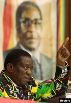 FILE - Vice President Emmerson Mnangagwa addresses a ZANU PF Central Commitee meeting in Harare, Zimbabwe, April 7, 2017. (Reuters)