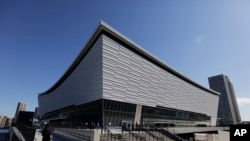 A general view of the Ariake Arena, a venue for volleyball at the Tokyo 2020 Olympics and wheelchair basketball during the Paralympics, Feb. 2, 2020, in Tokyo.