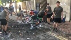 香港街道惊現解放軍和居民一起清掃街道