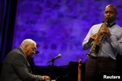U.S. saxophonist Branford Marsalis performs with his father, Ellis Marsalis, at the 51st Jazzaldia Jazz Festival in San Sebastian, northern Spain, July 22, 2016.