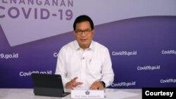 Juru bicara Satgas Penanganan Covid-19 Prof Wiku Adisasmito dalam telekonferensi pers di Graha BNPB, Jakarta. (Foto:BNPB)