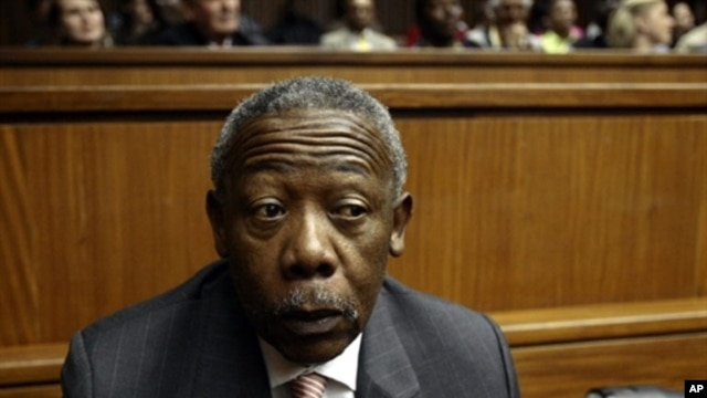 South Africa's former police chief and ex-president of Interpol Jackie Selebi looks on during a hearing at the High Court of Johannesburg, on 3 Aug 2010