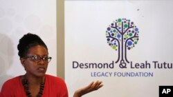 Reverend Mpho Tutu, the daughter of retired South African Archbishop Desmond Tutu, speaks to media during a press briefing in Cape Town, South Africa, Aug. 18, 2015.