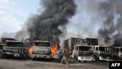Hiện trường vụ tấn công tự sát ở biên giới Afghanistan-Pakistan tại Torkham, tỉnh Nangarhar, 19/6/2014.
