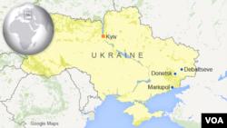 Peta wilayah Debaltseve, Donetsk dan Mairupol di Ukraina.