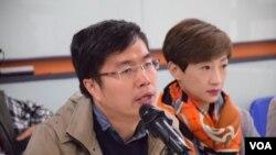 民陣召集人區諾軒(左)(VOA湯惠芸攝)